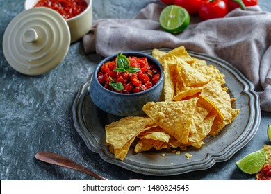 Mexican food nato main salsa sauce with crispy tomato paste, sweet pepper, chill sauce, paprika powder, pepper, salt, vegetable oil, lemon juice, oregano mixed together. Eaten, fresh, useful