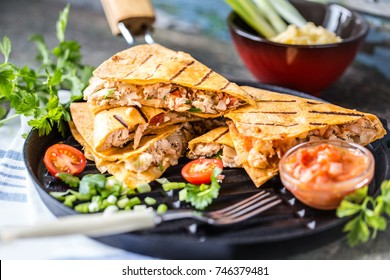 Mexican food quesadilla with grilled chicken, salsa and cheese, with greens and vegetables