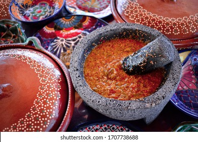 Mexican food - Salsa made in molcajete
