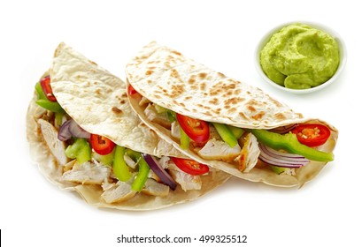 Mexican food Tacos isolated on white background