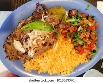 Mexican food traditional carne asada plate