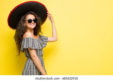 Mexican girl, Mexican woman, Summer girl, Woman on yellow background, Happy people