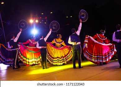 Mexican group of dancers in national costume - living traditions - unrecognizable