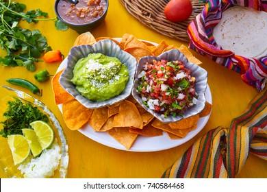 Mexican guacamole and pico de gallo sauces from Mexico