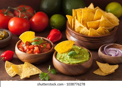 mexican guacamole and salsa dip, nachos tortilla chips