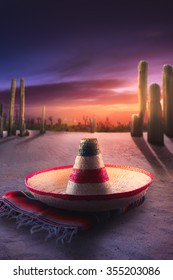 """Mexican hat """"sombrero"""" on a """"serape"""" in a mexican desert at night"""