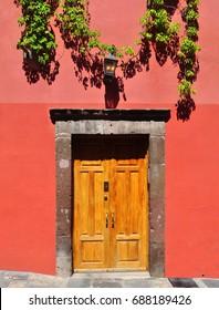 Mexican house Colonial style door in San Miguel de Allende Mexico