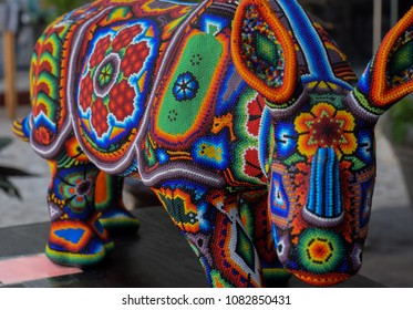 Mexican Huichol art, Rhino made with colorful beads