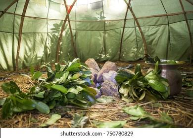 Mexican or Indian Sauna Hut. Sweat lodge. Inipi. Stock image.