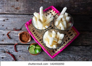 Mexican jicama fruit cutted with green  lime