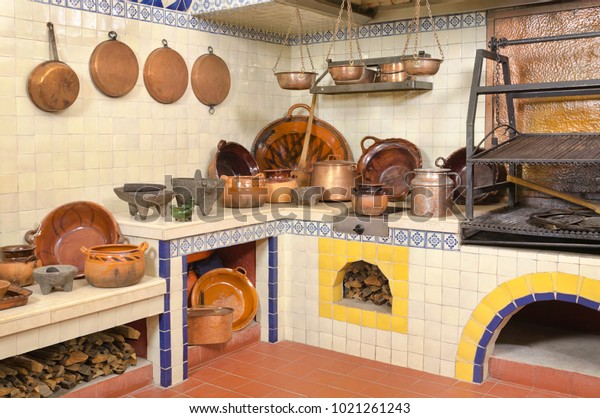 Mexican Kitchen Old Fashioned Traditional Wood Stock Photo