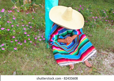Mexican lazy typical sombrero hat man poncho having a nap in the garden