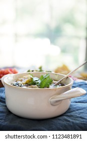 Mexican Lime Tortilla Soup Vertical orientation with copy space