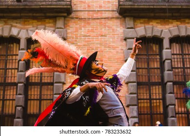 mexican man dressed with traditional mexican folk costumes during Carnival in Mexico