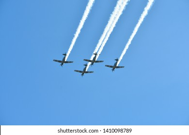 Mexican military air force  performances  on September 9, 2019  at  Huatulco ,Mexico .
