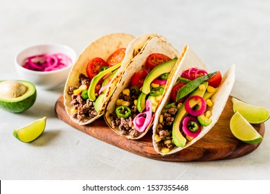 Mexican Minced Beef Tacos with Vegetables and Corn Salsa