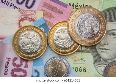 Mexican money, coins and bills