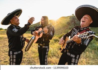 Mexican musicians mariachi band outdoor