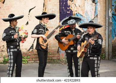 Mexican musicians mariachi on the street of Mexico