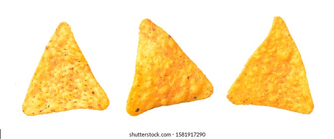 mexican Nacho chips over white background, close up of nachos