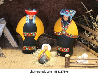 Mexican Nativity scene with holy family in South American style in clothing