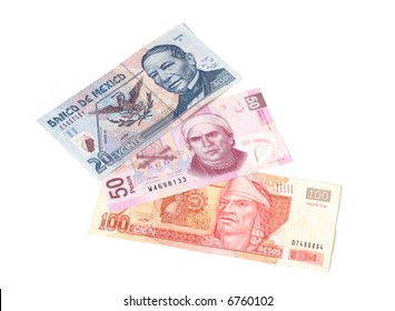 Mexican paper currency: bills of 20, 50 and 100 mexican pesos
