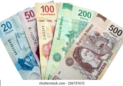 Mexican Pesos, bank notes isolated on white background