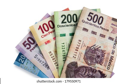 Mexican pesos, bills of 20, 50, 100, 200, 500