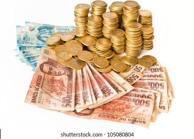 a lot of mexican pesos money isolated on white background, coins and bank notes