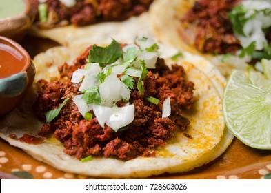 Mexican pork chorizo tacos