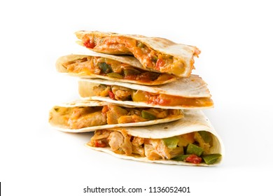 Mexican quesadilla with chicken, cheese and peppers, isolated on white background