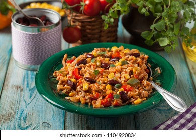 Mexican rice with minced meat and vegetables. Front view.
