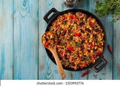 Mexican rice with minced meat and vegetables. Top view.