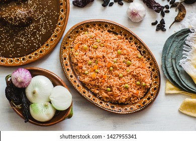 mexican rice and mole poblano, traditional food in Mexico