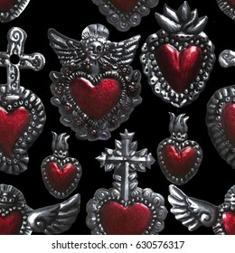 mexican sacred heart seamless pattern