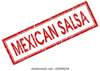 Mexican salsa red square grungy stamp isolated on white background