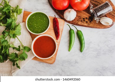 Mexican Salsas red and green hot chili sauce, spicy food and ingredients in Mexico