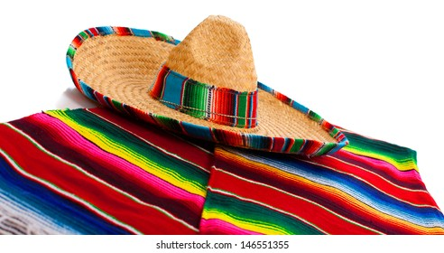 Mexican Serape and a sombrero on a white background