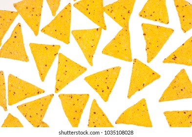 Mexican snack -  nachos as fun food pattern, isolated, background, top view.