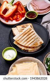 Mexican snack quesadilla from tortilla. Trendy wrap hack.