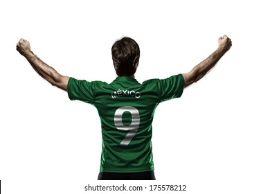 Mexican soccer player, celebrating on the white background.