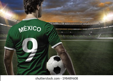 Mexican soccer player, celebrating on a stadium.