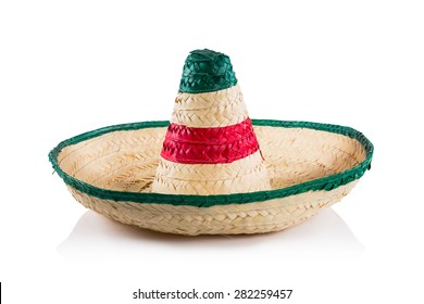 Mexican sombrero in white background
