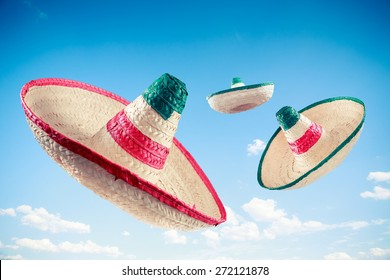 Mexican sombreros in a blue sky