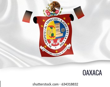 Mexican state Oaxaca flag waving on an isolated white background. State name is included below the flag. 3D rendering.