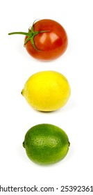 Mexican Stoplight. Three fruits popular in South American cuisine: the tomato, lemon, and lime.