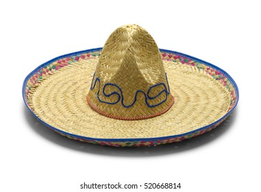 Mexican Straw Sombrero Isolated on White Background.