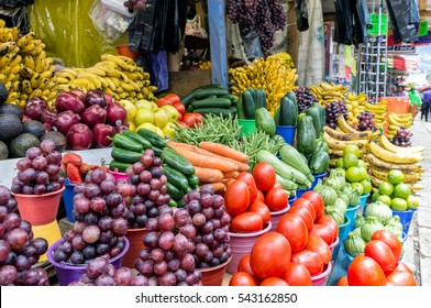 Mexican Street Market Displays Fresh Vegetables in Chiapas, Mexico