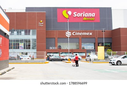 Mexican supermarket and warehouses, in the picture there are the logos of Soriana and Cinemex. It is in Mexico City, the photo was taken  in August, 02, 2020