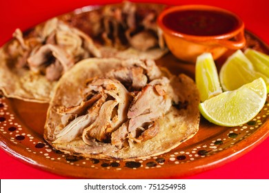mexican tacos and red sauce is traditional food in mexico city